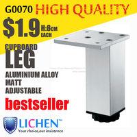Chinese Factory LICHEN G0070 Quadrangle adjustable Metal Aluminium alloy Cabinet Sofa Furniture leg (4 pieces/lot) 80 height