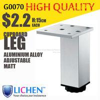 Chinese Factory LICHEN G0070 Quadrangle adjustable Metal Aluminium alloy Cabinet Sofa Furniture leg (4 pieces/lot) 150 height