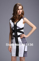 Hot Sell Europe Fashion Women's White/Black Colorblock Pencil Dress Long Zipper Casual Dresses DH036 (UK8-UK16)
