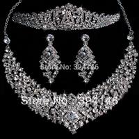 Hot sale Fashion New style Gorgeous crystal bridal jewelry sets shiny rhinestone wedding jewelry sets tiaras accessory