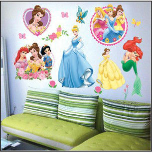 princess home decor art wall stickers for kids rooms child love diy family decoration vinyl poster mural bathroom mirror decals(China (Mainland))
