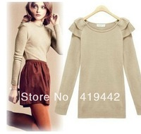 Free Shipping 2013 Women New Arrival solid O neck ruffles full sleeve loose standard casual sweater
