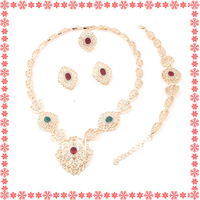 Free shipping 2014 new arrival 18 K gold plated fashion bridal necklace sets  brazilian gold jewelry
