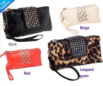 women leather handbags Simple Fashion PU Leather Handbag Rivet Lady Clutch Purse Wallet Evening Bag 2014