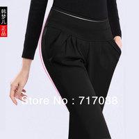 Summer thin long trousers black high waist plus size women's harem pants legging female Free shipping