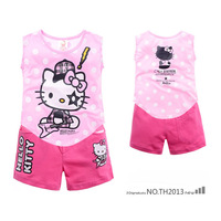Free shipping 6 sets/lot 2014 Hot Sale Children's Clothing Hello kitty Vest Suit Cartoon Vest with Shorts Girl's summer suits