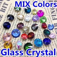 MIXED COLOR Rivoli Crystal 8MM 10MM 12MM 14mm 16mm 18mm Round Fancy Stone Crystal Rivoli Beads