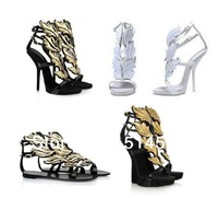 New arrival gold leaf design wedge sandals high heel flame sandals shoes