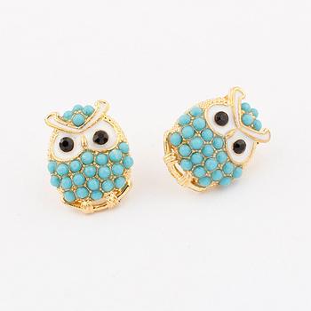Бесплатная доставка! оптовая продажа корейский мода ювелирные изделия симпатичные красивая индивидуальность темперамент жемчужные бусины сова стад серьги B081