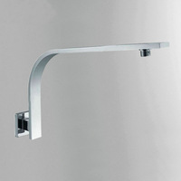 "16"" Brass Wall Mounted Bent Neck Shower Arm Square Chrome Polished"