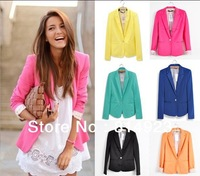 Womens Tunic Foldable sleeve Blazer Jacket candy color lined striped woman .suit clothes shawl cardigan Coat Free shipping