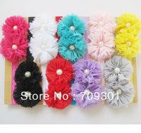 "Double 2.5""Chiffon Shabby Flowers with pearl baby headbands TOP baby elastic headbands Hair Accessories"