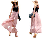 Q8015 Free shipping New Lady Bohemia Women's Boho Maxi Sleeveless Pleated Long Chiffon Patchwork Dress Summer Beach Sundress