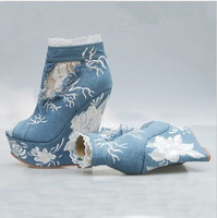 free shipping,2014 peet toe jeans denim lace high wedge heels platform women boots,lady pumps,euro 35-41