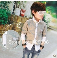 Free shipping 2013 new spring children's shirt tide boys leave the two hole in the personalized long-sleeved shirt