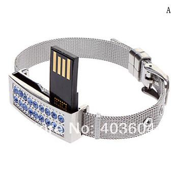 Crystal Bracelet USB Flash   Drive  Metal 8GB 16GB 32GB 64GB