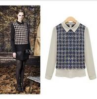 Plus Size 4XL Designer Blouse Black White Long sleeve Peter Pan Collar Plaid Chiffon Za a Women plaid shirt 2013 LY121446
