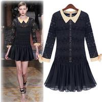 Free Shipping New Arrival Brand Designer Black Long sleeve Peter Pan Collar Mini Vintage Short Lace Dresses LY121445