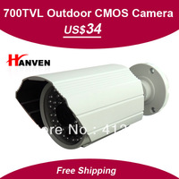 "1/4"" CMOS 700TVL,With IR-CUTand lightning protection,48leds IR outdoor/indoor waterproof cctv camera with bracket, Free Shipping"