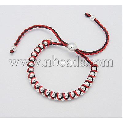 Fashion Friendship Bracelets, Handmade Bracelet, Nylon Thread with Alloy Beads, Colorful, Size: about 8mm in diameter(China (Mainland))