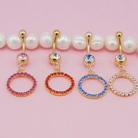 Colorful  Flower Rhinestone Navel Belly Button Barbell Ring fake Body Piercing jewelry