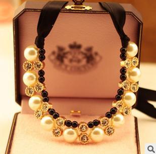 N039 The great pearl collar hanging neck black ribbon dress short necklace B10.5(China (Mainland))