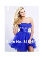 2014 Strapless Organza Royal Blue Short Party Dresses XS S M L XL XXL 3XL 4XL Free Shipping