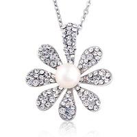 Crystal Rhinestone Girls Friendship Flower Lucky Pendant Necklace
