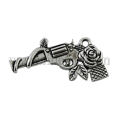 Zinc Alloy Gun Necklace Pendant, Revolver Pistol Charm, DIY Jewelry for 2012 London Olympic, Lead Free, Antique Silver(China (Mainland))