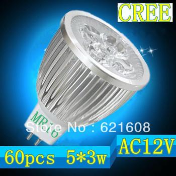 Free shipping 60pcs/lot MR16/GU10/E27/GU5.3/E14 15W 5x3W CREE dimmable High power Spotlight LED Bulb Lamp LED Lighting