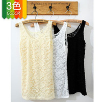 summer blouses 2013 The hollow carved full lace vest fence bottoming vest T-shirt of women 3 colors free shipping