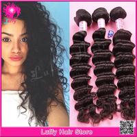 "8'' -32"" 100% Peruvian Virgin Human Hair ,Hair Extensions Deep Wave Natural Color Mix Length 3pcs/lot Weave Free Shipping"
