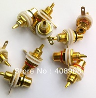 Free shipping Gold RCA Female Connector Socket Adapter Plug  wholesale