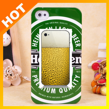 10pcs/lot 2013 New Pattern Smooth Surface Hard Plastic Beer Cell Phone Case Cover For iPhone 5 4S 4G 4+Free Shipping