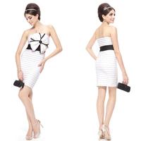 03491  Flower Strapless Black White High Stretch Cocktail Dress 2014