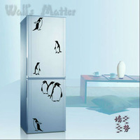 Refrigerator fashion wardrobe wall stickers glass window kitchen child boy stickers cute penguins animal cartoonhome decal decor