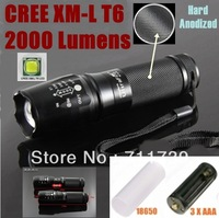 UltraFire E26 Hard anodized CREE XM-L T6 2000Lumens 5-Mode LED CREE Flashlight T6 Torch For 26650 /8650/ 3xAAA   - Free shipping