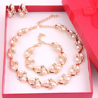 Free Shipping,2014 Fashion Pearl Necklace Earrings Sets Elegant High Quality Crystal Silver Plated Women Wedding Jewerly Sets