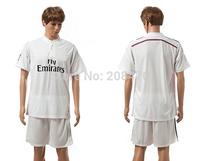 New Arrival 2014 2015 Real Madrid home white jerseys soccer Desinger football uniforms men's Brand sport kits set Free Shipping