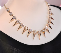 Free shipping Fashion 2013 Gold Spike necklace collar rivets punk and ladies jewelry and wholesale sales