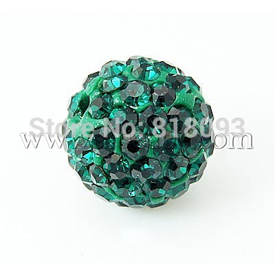 Pave Disco Ball Beads, Polymer Clay Rhinestone Beads, Grade A, Round, Emerald, 10mm, Hole: 1mm(China (Mainland))