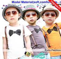 2014 new arrival wholesale 5piece/lot modal 3 colors kids bow tie top tee summer children boy short t shirt