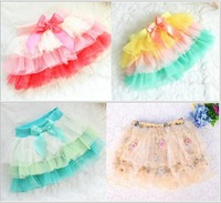 Rainbow Fashion girls Color of the veil tutu skirt yarn baby girl stitching lace flower skirts children's clothing summer wear