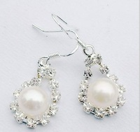 free shipping 8mm fashion silver coated pearl earrings Natural fresh water pearls jewelry
