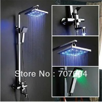 "Polished Chrome 3-way Square LED Wall Mount Rainfall Shower Faucets + 8"" led Shower Head + led handheld shower + led tub spout"
