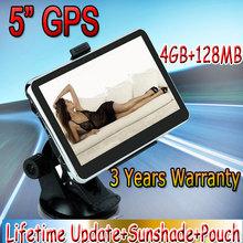 5 inch GPS Car Navigation MTK 4GB Capacity UK EU AU NZ Maps Speedcam POI with Sunshade DA0550