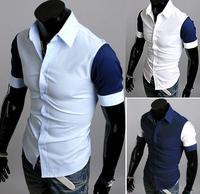 M-3XL,3 Colors, 2014 New Fashion Hot Sale Men Hit color Stylish Slim Fit Dress Shirt Leisure short sleeved Shirt,9062