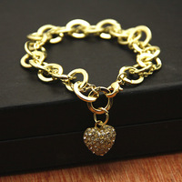 Sunshine jewelry store fashion rhinestone studded heart pendant cute bracelet s125 (min order $10 mixed order)