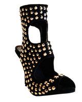 new arrive  2013 fashion  high heel 12cm  Rivet   Shaped heel  Nubuck leather suede black women shoes  party   women Sandals