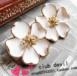 2014 Vintage Drip Jasmine Flower Stud Earrings White Flower Earrings Wholesale XY E112